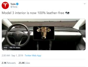 Tweet from Tesla