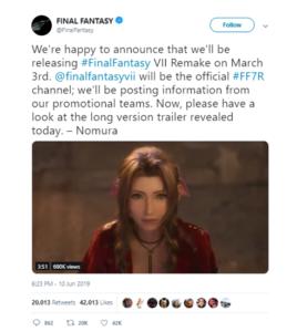 Tweet from Final Fantasy